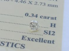 Diamond – 0.34 ct - H/SI2 - EXC/EXC/EXC ** No Reserve **