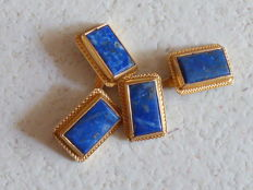 Pair of cufflinks in 18 kt gold with lapiz lazuli - 1950s/60s