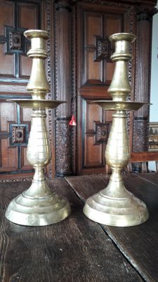 Two copper candlesticks