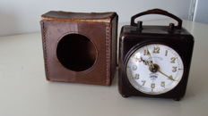 Table clock with alarm, complete with case - Lenzkirch - around 1900