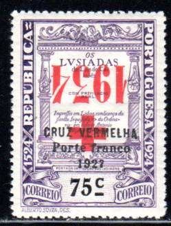 Portugal - 1934 - postage due for the Red Cross, 75 c violet with upside-down overprint, Michel 50K