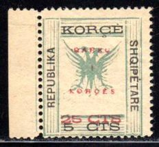Albania - military post Korca - 1938 - stamp number 14 with red overprint 'Qarku/Korces' and new value, Michel 18