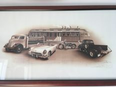 """Diners 50"" (96 cm x 51 cm) - lithography of François Bruère - U.S.A. / Corvette / Harley / truck / Coca Cola Truck"