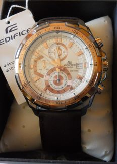 Casio Edifice Men's Wristwatch Chronograph Brown Genuine Leather WR100