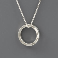 Tiffany & Co. – '1837' choker in 925 silver with a pendant in the shape of a ring – Length 40 cm, interior pendant diameter 12.70 mm (approx.)
