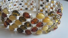 Multi colour bracelet with 100 % natural Baltic Amber and silver 925, lenght 20 cm