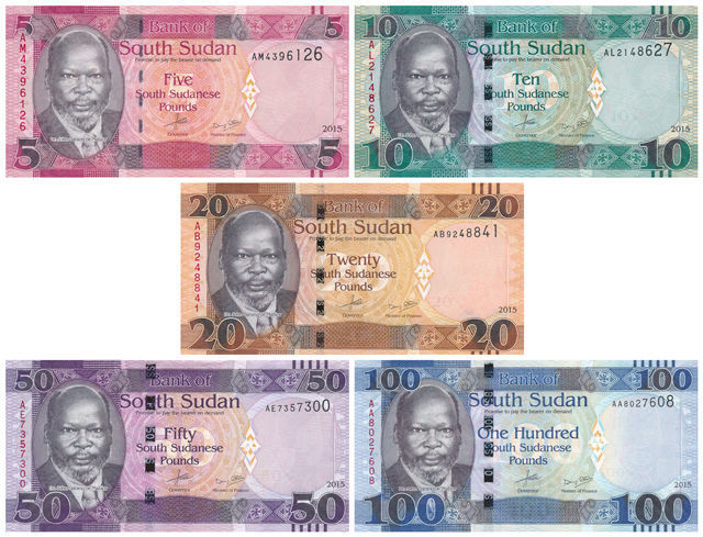 South Sudan - 5, 10, 20, 50 and 100 Pounds 2015 - Pick 11, 12, 13, 14 en 15