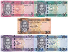 South Sudan - 5, 10, 20, 50 and 100 Pounds 2015 - Pick 11, 12, 13, 14 and 15