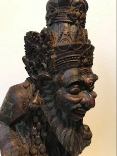 Wooden polychrome statue of priest - Bali - Indonesia