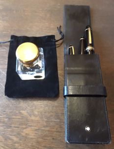 Mont Blanc Meisterstuck Set: Golden 149, Its Crystal Inkwell, a Ballpoint Pen and a Mechanical Pencil in Their Case