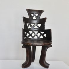 Heavy authentic vintage hand-carved wooden African throne chair