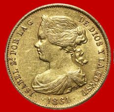 Spain – Isabel II (1833–1868) – 100 reales gold coin – Madrid. 1861.