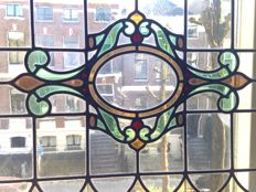 Magnificent old and large Jugendstil mosaic stained glass window (suncatcher) with soft colours - from around 1890