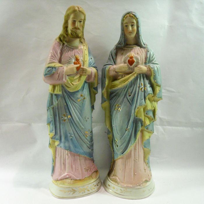 Antique Bisquit d'Andenne home altar sculptures Joachim & Anna with stoup Angel - Belgium - early 1900s