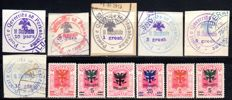 Albania - 1913 - official stamp cut and Regency Council with overprint, Michel 18-23 and 68-75