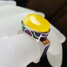 Great hand working, 925 sterling silver enamel and natural Baltic Amber ring ,8.3 g