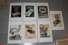 Lot of 7 original advertising posters of French brands between 1932 and 1937, Panhard, Renault, Peugeot, Farman, Mathis, Panhard Leveassor-