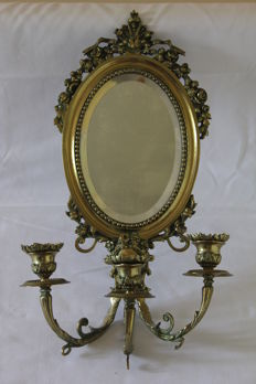 Oval bronze antique wall mirror with three candlesticks, France, ca. 1900