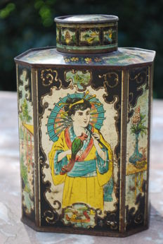 Unique chinoiserie tin tea can with lots of great scenes-probably Germany - approx 1880