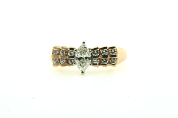 A ring made of 585 yellow gold with 1.00 ct brilliants, VVSI W - ring size: 55 mm