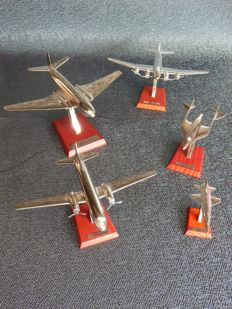 Set of 5 silver plated aircraft
