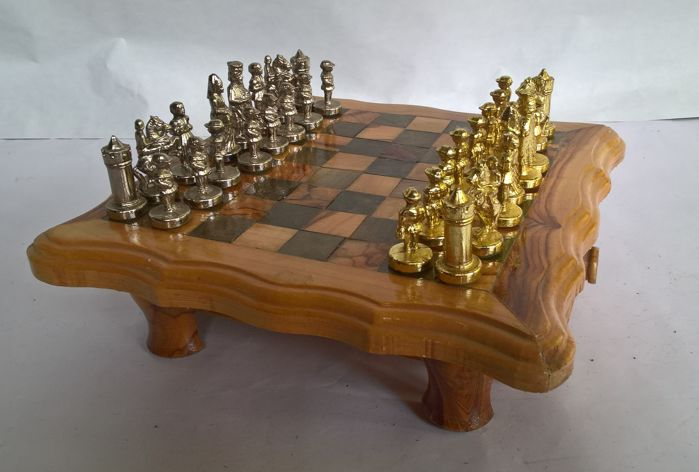 Chess Set: Chess Table Of Solid Wood And Metal Chess Pieces Last Century