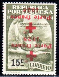 Portugal - 1928 - postage stamps for the red cross, 15c with inverted imprint, Michel 11K