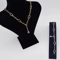 Set of white and yellow gold 14 k necklace and bracelet - 45 cm + 18.5 cm