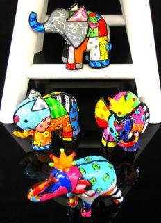 Romero Britto - 4 Elephants Collection