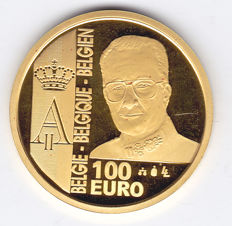 "Belgium – 100 Euro coin 2003, ""10th Anniversary of Reign of Albert II"" – ½ oz of gold"