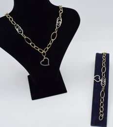 Set of  white and yellow gold 14 k necklace and bracelet - 48 cm + 18.5 cm