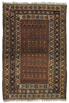 (Size: 165 x 113 cm) Authentic antique Persian rug, original hand-knotted MALAYER, date:  1910–1920 With certificate of authenticity from an official appraiser (Galleria Farah 1970).