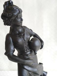 """Moissonneuse"", old antimony statue with marble base - France, 20th century"