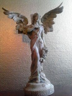 Protective Angel Sculpture in Jugendstil Art Nouveau Art Deco style