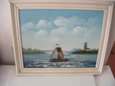 Artist unknown, sailing boat on the Frisian lakes, oil on canvas
