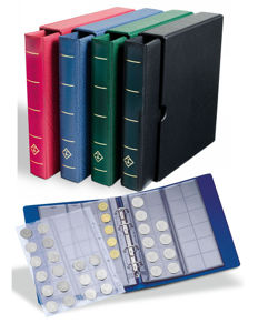 Accessories – Leuchtturm, 4 Optima coin albums, including slipcase and 20 coin sheets.