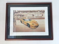 "Chevrolet - ""Corvette C5R at the 24 hours of le Mans"" (81 cm x 66 cm)  lithography by François Bruère in 2002"