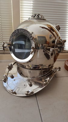 Great scuba diving helmet,  chrome coloured