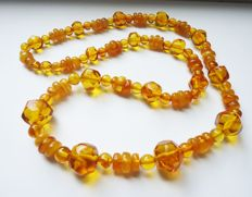 100% Natural Baltic Amber necklace, citrine colour, 48 grams