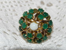 Cocktail ruby ring 14 kt - 585 gold approx. 2.3 ct emerald and opal
