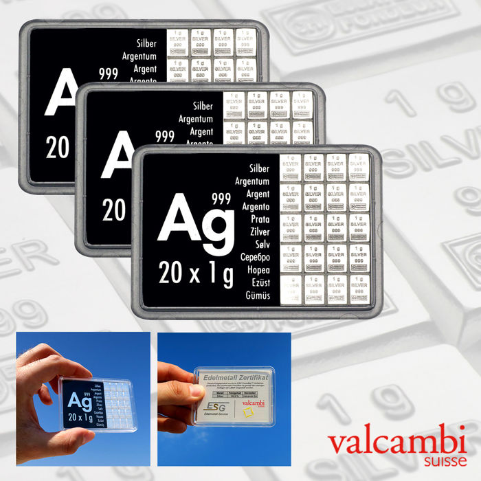 Switzerland - Valcambi - 3 x 20 g - 999 silver / silver panel - minted / Sealed