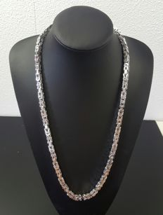 Heavy silver king's braid link necklace 925 - 209 grams - length: 71cm