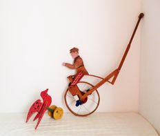 Two tradicional Portuguese wood toys - Cycling Man with Ringing Bell, and Flying bird 1940's