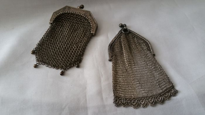Two silver purses with chain mail, Germany ca 1900