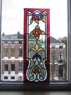 Magnificent old Jugendstil with soft colours stained glass with mosaic window (suncatcher) from around 1910