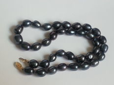 12-10 cm Tahiti baroque black blue pearl necklace with 14 kt gold clasp - no reserve price