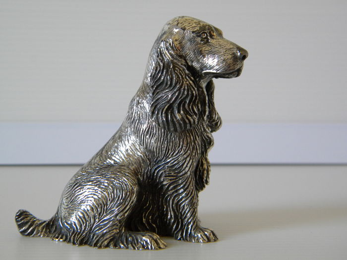 Silver Cocker Spaniel dog, manufacturer 105 AR, Italy, 20th century