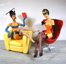 Figurine; Lot with 2 Pin Ups to a design of Stephan Saint Emett-21st century