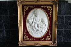 Large painting with resin, depicting children, on velvet with a gilded baroque frame, 20th century