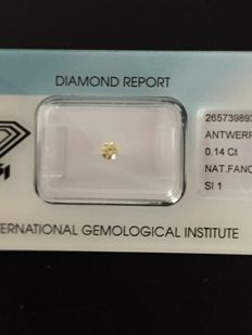 0.14 ct brilliant cut diamond, fancy intense yellow